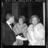 "Roddy McDowall, Julie Andrews and Greer Garson at premiere of ""The Greatest Story Ever Told"" motion picture in Los Angeles, Calif., 1965"