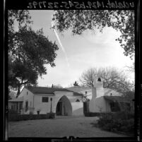 Front entrance and yard of the Orcutt's home Rancho Sombra de Robles (Orcutt Ranch Horticulture Center), Calif., 1965