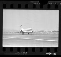 Douglas DC-9 airliner on runway at Long Beach Municipal Airport, Calif., 1965