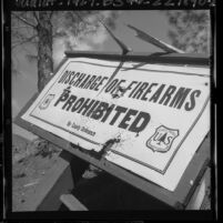 "Forest service ""Discharge of Firearms Prohibited"" sign damaged by shotgun blast, Calif., 1965"