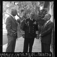Britain's Lord Louis Mountbatten standing with two unidentified men in Los Angeles, Calif., 1965