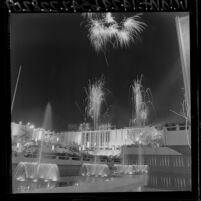 Fireworks above Los Angeles County Museum of Art during dedication ceremony, 1965