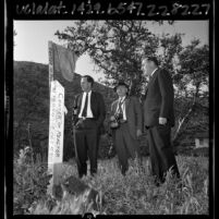 Three members of Atomic Energy Commission Board inspecting site of proposed nuclear power plant in Malibu, Calif., 1965