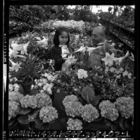 Merchant Frank Shimohara and young girl at Los Angeles Flower Market, 1965