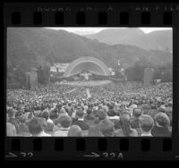 View of audience and stage at Hollywood Bowl Sunrise Service, 1965