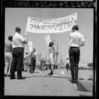 Young Americans for Freedom members picketing the Federal Building in support for American military action in Vietnam, Los Angeles, Calif., 1965
