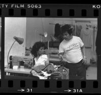 Kanjobal Indian immigrants from San Miguel, Guatemala, working in their garment shop in Los Angeles, Calif., 1984