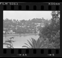 Houses and landscape surrounding Silver Lake in Los Angeles, Calif., 1984