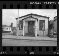 Exterior of converted synagogue, Iglesia Christiana church in Boyle Heights, Los Angeles, 1984