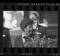 First Black Queen, Kristina Kaye Smith reacting after being chosen as the 1984 Rose Queen in Pasadena, Calif.