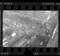 View from atop building looking down on crowd at political rally for Walter F. Mondale in Los Angeles, Calif., 1984