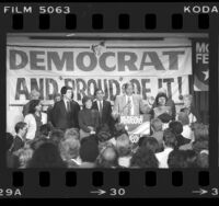 Mayor Tom Bradley addressing crowd at Democratic Party Election Night headquarters in Biltmore Hotel, Los Angeles, Calif., 1984