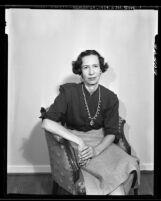 Landscape architect Ruth Shellhorn, seated portrait, 1955