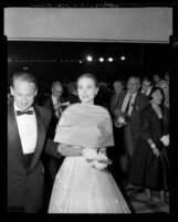 Actress Grace Kelly arriving at the 28th annual Academy Awards, 1956
