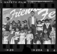 Dodger's pitcher Fernando Valenzuela surrounded by students at Sheridan Street School in Los Angeles, Calif., 1984