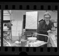 Artist June Wayne in her studio in Hollywood, Calif., 1984