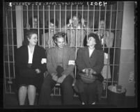 Women pickets seated in jail after being arrested during film studio strike in Los Angeles, Calif., 1946