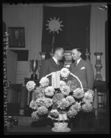 """Consul-Gen. Yi-seng Kiang and Dr. T. B. Chew observe historic """"Double Ten"""" date in Los Angeles, Calif., 1946"""