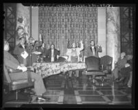 Actors recreating first meeting of Los Angeles City Council for centennial celebration, 1948