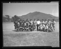Pala and Morongo Indian baseball teams at celebration of Corpus Christi Day in San Diego, Calif., 1938
