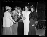 "Actresses Mary Pickford, Lillian Gish and Louise Campbell with three other women at film premiere of  ""The Star Maker,"" 1939"