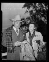 Actor Buck Jones and wife Odelle at Santa Anita Racetrack, Calif., 1940