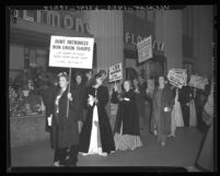 International Ladies' Garment Workers' Union members dressed in evening gowns picket the Biltmore Hotel in Los Angeles, Calif., 1940
