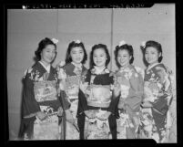 Queen and attendants at seventh annual Nisei Week in Los Angeles, 1940