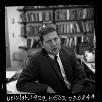 1/2 length portrait of San Fernando Valley State College sociologist Dr. Lewis Yablonsky, 1965