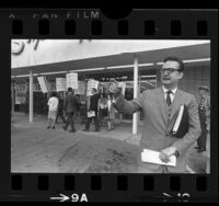 Entertainer Steve Allen with grape boycott pickets, out front of supermarket in Encino, Calif., 1965