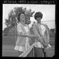 Peggy Michel and Pam Teeguarden at Rancho Park International Junior Tennis Championships, Calif., 1965