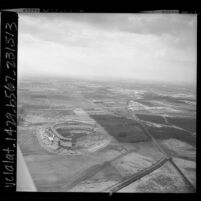 Aerial view of Anaheim Stadium construction and surrounding area, 1966
