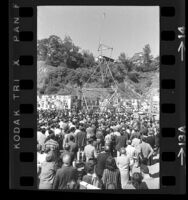 Dedication ceremony of the Artists Protest Committee's Peace Tower on Sunset and La Cienega Blvds. in Los Angeles, Calif., 1966