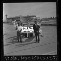 Max Richardson and Pete Kurbitaf picketing in front of Angels Stadium in Anaheim, Calif., 1966