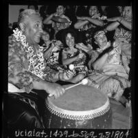 Samoan drummer and dancers in Los Angeles, Calif., 1966