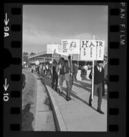 """""""Longhaired"""" students with placards, picketing in protest to dress code at Palisades High School, Pacific Palisades, Calif., 1966"""