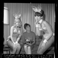 Playboy Club Bunnies Anne and Diane with Mother Rabbit Alice Nichols, Los Angeles, Calif., 1966