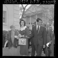 Lynda Bird Johnson, actor George Hamilton and Winifred Reynolds outside First Church of Christ, Scientist, in Beverly Hills, Calif., 1966