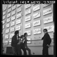 The Turtles, music group, before wall of Hollywood stars signatures, Los Angeles, Calif., 1966