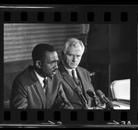 Carlton B. Goodlett and Simon Casady holding press conference in Los Angeles, Calif., 1966