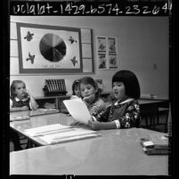 Lisa Stillwell and Candi Uriu with other classmates at Mirman School for academically gifted children in Los Angeles, Calif., 1966