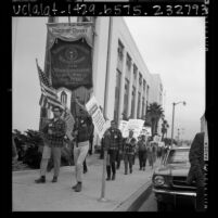 Maritime industry workers picketing U.S. Maritime offices in San Pedro, Calif., 1966