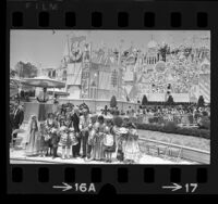 "Walt Disney and Louis B. Lundborg opening Disneyland's ""It's a Small World"" ride, Anaheim, 1966"