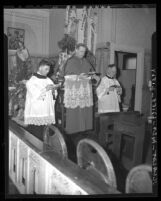 Archbishop John J. Cantwell celebrating Croatian anniversary mass in Los Angeles, Calif., 1940