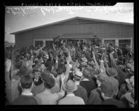 Strike meeting of grooms and stable hands at Santa Anita Race Track, Calif., 1941