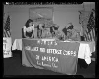 Dorothy Hewes Bell signs up with the Women's Ambulance and Defense Corps of America in Los Angeles, Calif., 1941