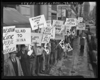 Koreans demonstrating before Japan Consulate in Los Angeles, Calif., 1941