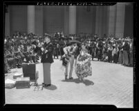 Mexico City's police band giving a concert at the Los Angeles City Hall in 1941