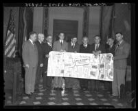 Mayors of cities in Los Angeles County plan for Bill of Rights celebration in Los Angeles, Calif., 1941