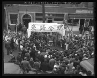 Funeral service for Chinese district merchant Man Gai Chan in Los Angeles, Calif., 1942